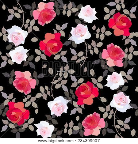 Seamless Floral Pattern With Red And White Roses On Black Background