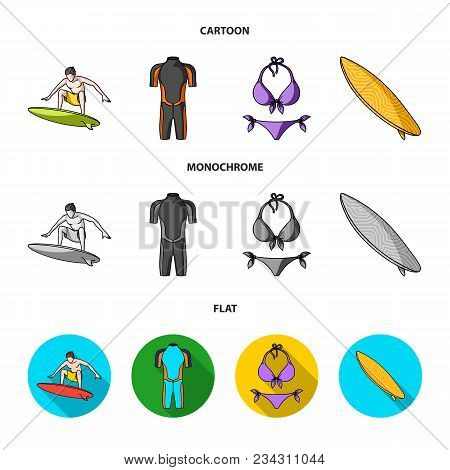 Surfer, Wetsuit, Bikini, Surfboard. Surfing Set Collection Icons In Cartoon, Flat, Monochrome Style