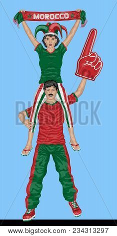 Moroccan Fans Supporting Morocco Team With Scarf And Foam Finger. All The Objects Are In Different L