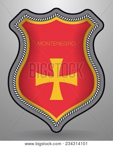 Historical Montenegrin Flag. Vector Badge And Icon