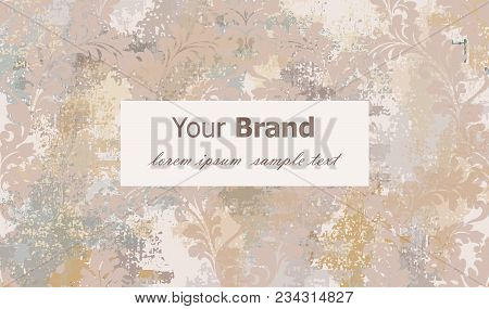 Luxury Card With Classic Ornament Vector. Grunge Background. Baroque Intricate Design Illustration.