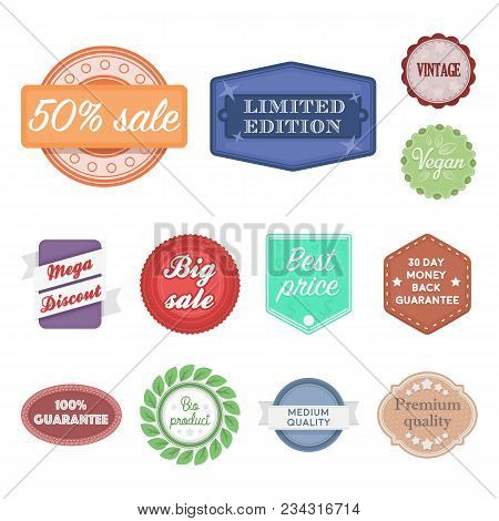 Different Label Cartoon Icons In Set Collection For Design. Index And Brand Vector Symbol Stock  Ill