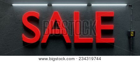 3d illustration of a underground wall with neon lights and word sale