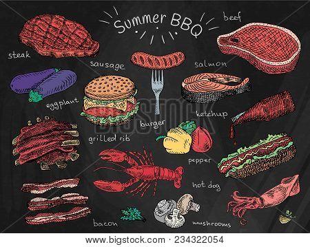 Fish, Salmon Fillet, Summer Party, Meat Grill, Food Menu Beautiful Illustration Summer Bbq Food, Rib