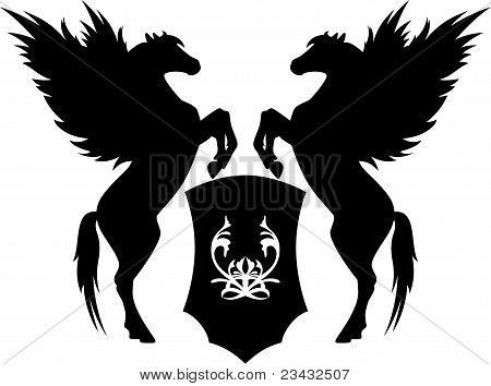 Pegasus with shield