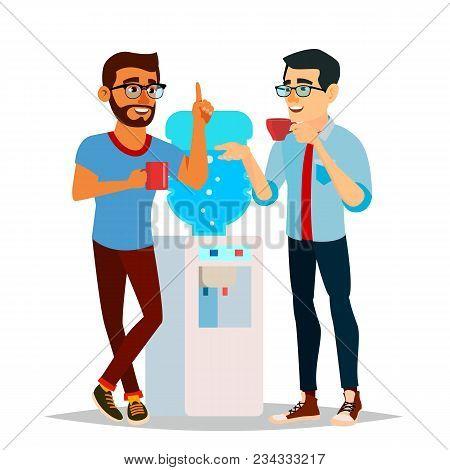 Water Cooler Gossip Vector. Modern Office Water Cooler. Laughing Friends, Office Colleagues Men Talk