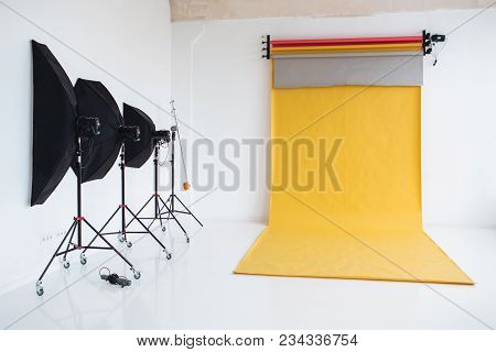 Photographing Studio With Light Set Up, Modern Lightning Equipment For Making High Quality Photos. P