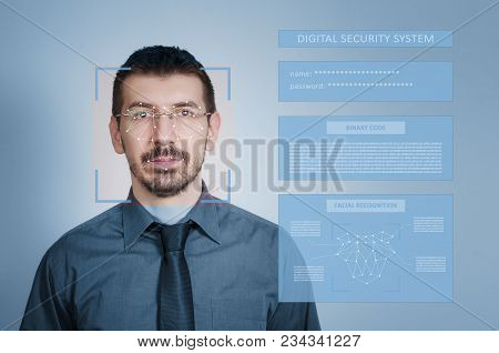 Digital Security System For Identity Protection And Face Recognition. Digital Identity Protection Co
