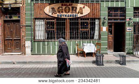 Istanbul, Turkey - March 2018: Exterior View Of Historical Agora Tavern Bar In Balat, Istanbul, Turk