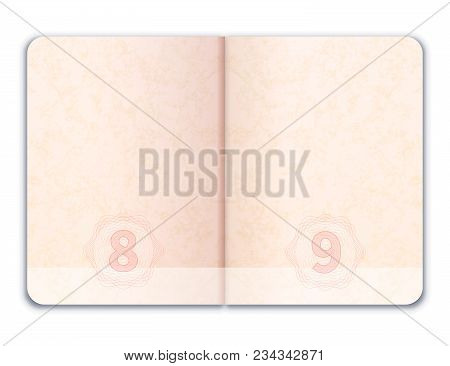 Blank Realistic Open Foreign Passport Isolated On White