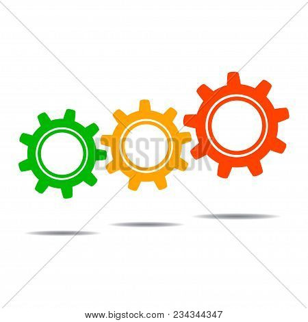 Gear Icon Vector, Colored Icon Vector, Gear Icon Illustration For Design, Gear Badge, Icon - Stock V