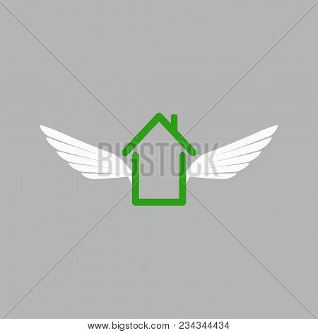 House Of Wings In Weightlessness. Flying Dreams And Hopes. Stock Vector