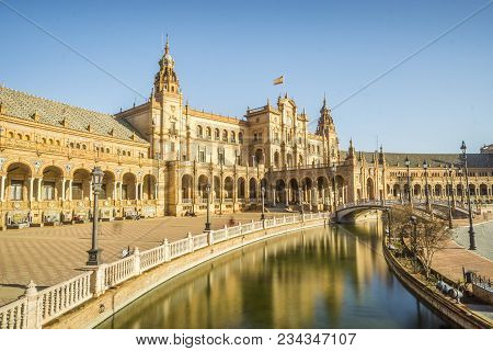 Spain Square Or Plaza De Espana, Seville, Andalusia, Spain