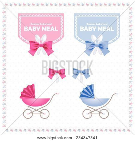Baby Meal Logo And Identity. Baby Meal Logo. Cute Small Spoon And Ribbon Emblems. Labels Set.