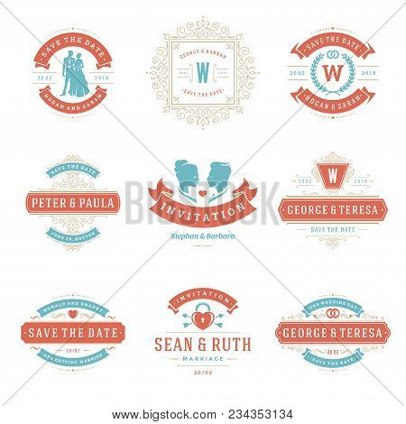 Wedding Logos And Badges Vector And Design Elements Set. Vintage Typography Titles For Save The Date