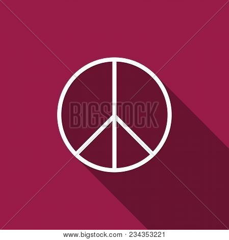 Peace Sign Icon Isolated With Long Shadow. Hippie Symbol Of Peace. Flat Design. Vector Illustration