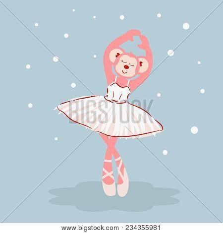 Ballerina Monkey Cartoon Character Vector. Cute Pink Girl Ape Ballet Dancer.