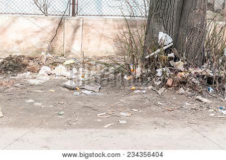 Garbage. Urban City Pollution Garbage And Junk Dumped On The Street