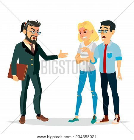 Angry Boss Man Vector. Screams, Shouting To Workers. Scared Docile Employee. Isolated Flat Cartoon C