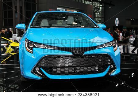NEW YORK CITY-MARCH 28: 2018 Toyota Corolla XSE shown at the New York International Auto Show 2018, at the Jacob Javits Center. This was Press Preview Day One of NYIAS, on March 28, 2018.