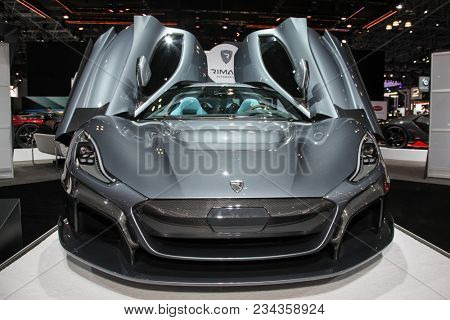 NEW YORK CITY-MARCH 28: Rimac C Two shown at the New York International Auto Show 2018, at the Jacob Javits Center. This was Press Preview Day One of NYIAS, on March 28, 2018.