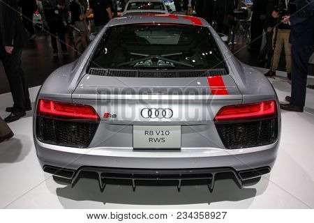 NEW YORK CITY-MARCH 28: 2018 Audi R8 V10 RWS shown at the New York International Auto Show 2018, at the Jacob Javits Center. This was Press Preview Day One of NYIAS, on March 28, 2018.