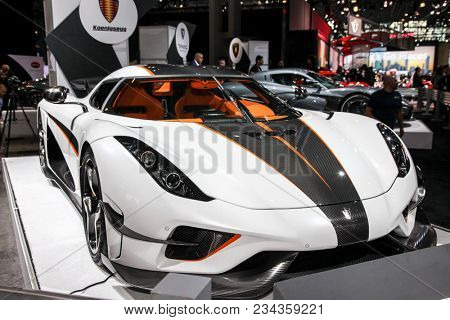 NEW YORK CITY-MARCH 28: Koenigsegg Rogerea shown at the New York International Auto Show 2018, at the Jacob Javits Center. This was Press Preview Day One of NYIAS, on March 28, 2018.