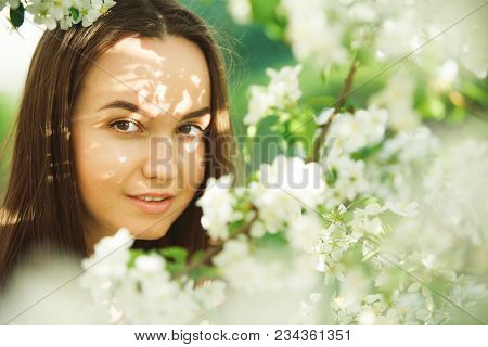 Young Woman With Clean Skin Near A Blooming Apple Tree. Gentle Portrait Of Girl In Spring Park. Spri