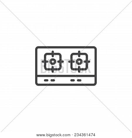 Gas Stove Top View Outline Icon. Linear Style Sign For Mobile Concept And Web Design. Dual Head Stov