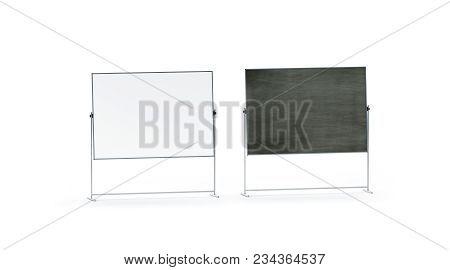 Blank White And Black Office Marker Board Set Mockup, Isolated, 3d Rendering. Empty Schoolboard Mock