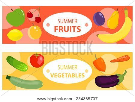 A Set Of Two Horizontal Fruit And Vegetable Banners. Two Horizontal Banners With Fruits And Vegetabl