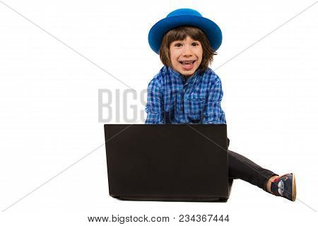 Amazed Cheerful Executive Little Boy In Front Of Laptop Isolated On White Background