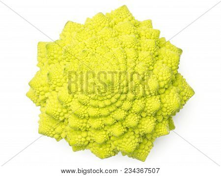 Romanesco Cauliflower Or Broccoli Top View Isolated On White Background One Green Head