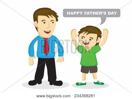 Vector Cartoon Illustration Of A Child Greeting His Father.