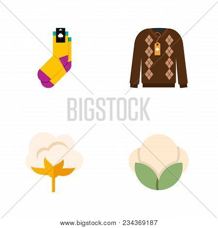 Icon flat fiber set of socks, fluffy, cotton and other vector objects. Also includes cotton, pullover, half-hose elements. poster
