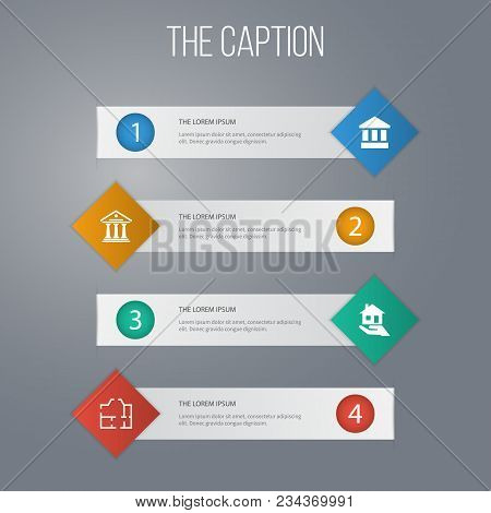 Icon Building Set Of Courthouse, Paper, Mortgage And Other Vector Objects. Also Includes Ancient, Mo