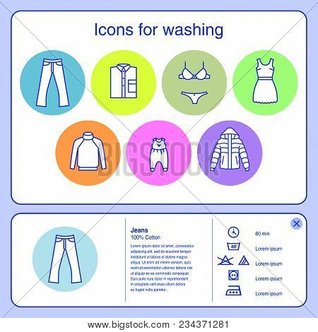 Web Icons For Washing. Jeans, Baby Clothes, Underwear, Wool, Delicate Washing, Outerwear Icons. Symb