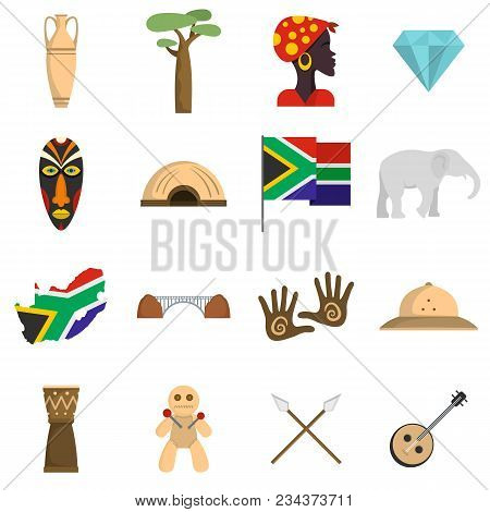 South Africa Travel Icons Set. Flat Illustration Of 16 South Africa Travel Vector Icons Isolated On