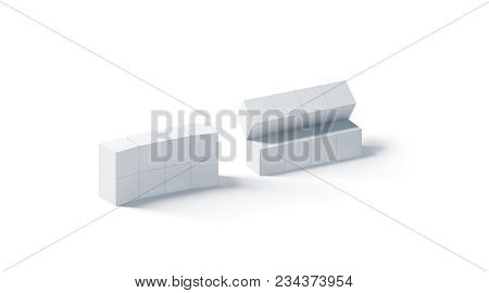 Blank White Promotional Magic Cube Mockup, Isolated, 3d Rendering. Foldable Puzzle Cuboid Promotion