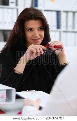Smiling Woman Deliberate On Problem Portrait In Office. White Collar Talk And Listen, Idea Discuss,