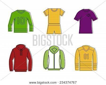 Sport Clothes Icon Set. Color Outline Set Of Sport Clothes Vector Icons For Web Design Isolated On W
