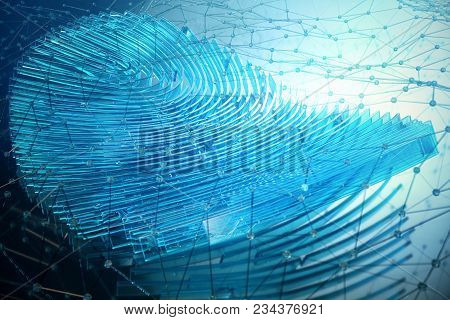 3d Rendering Fingerprint Scanning Identification System. Fingerprint Scan Provides Security Access W