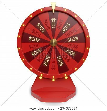 3d Illustration Red Wheel Of Luck Or Fortune. Realistic Spinning Fortune Wheel. Wheel Fortune Isolat