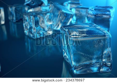3d Rendering Ice Cube On Blue Tint Background, Frozen Water Cube