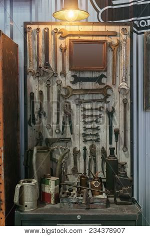 Image Of Variety Of Handy Tools. Set Of Tools On Wood Panel Background. Many Rusty Grunge Wrench Too