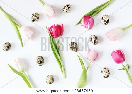 Styled Stock Photo. Feminine Easter, Spring Composition With Pink Tulips Flowers Quail Eggs And On W