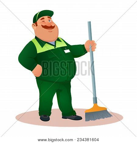 Smiling Cartoon Janitor With Mop Winks. Funny Fat Character In Green Suit With Winking Eye. Happy Fl
