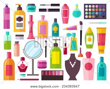 Make Up Collection Of Items Including, Perfumes And Mirror, Sprays And Gels, Brushes And Mascara, Ve