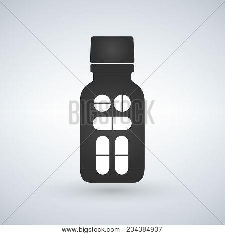 Pill Bottle Icon. Modern Pill Bottle For Pills Or Capsules. Flat Style Vector Illustration Isolated