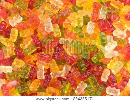 Brightly Colored Mixed Jelly Baby Sweets / Jelly Babies In A Candy Sweet Shop. Potential Use As A Ba